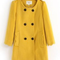 Guest of Honor 3/4 Sleeve Scalloped Hem Peacoat in Mustard | Sincerely Sweet Boutique
