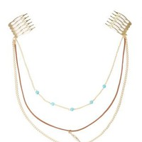 Gold Turquoise & Faux Leather Clip-In Hair Chain by Charlotte Russe