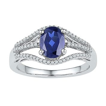 10k White Gold Oval Created Blue Sapphire Solitaire Diamond Ring 1-3/4 Cttw
