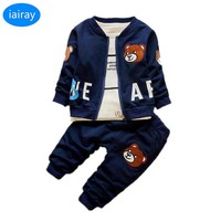 iairay 3pcs baby coat+shirt+pants baby boy clothing set cheap clothes China spring autumn clothes for baby tops pants boys suit
