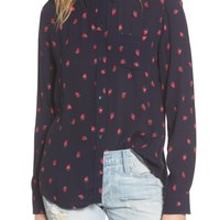 Rails Kate Strawberry Print Silk Shirt | Nordstrom