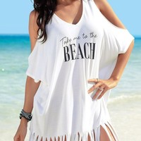 White Tassels Loose Fit Take me to the Beach Cover up