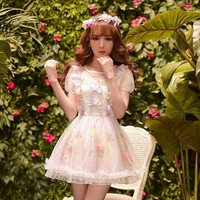 Princess sweet lolita dress Candy rain cunte Summer Japanese style falbala Net yarn chiffon floral dress C15AB5765