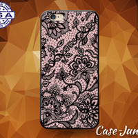 Pink Black Lace Pattern Floral Flowery Tumblr Case For iPhone 5/5s/5c and iPhone 6 and 6+ and iPhone 6s and iPhone 6s Plus iPhone SE Case