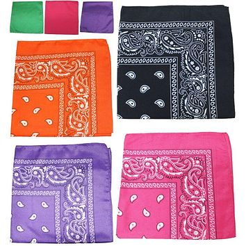 Polyester Soft Bandanas Headbands Face Covering 22 in- 24 Pack