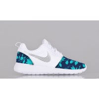 New Nike Roshe Run Custom Blue Light Blue White Floral Edition Womens Shoes Sizes 5 - 12