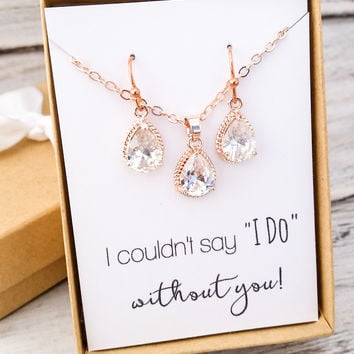 Rose Gold Teardrop Jewelry Set