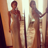 2015 Spring And Summer Cocktail Sexy V-neck Bling Bling Fishtail Long Graceful Vintage Women Dress = 1955644740