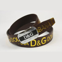 D&G Men Woman Fashion Smooth Buckle Belt Leather Belt