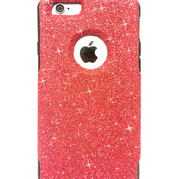 Custom iPhone 6 (4.7 inch) Glitter Otterbox Commuter Cute Case,  Custom  Glitter Red/ Black Otterbox Color Cover for iPhone 6 (4.7 inch)