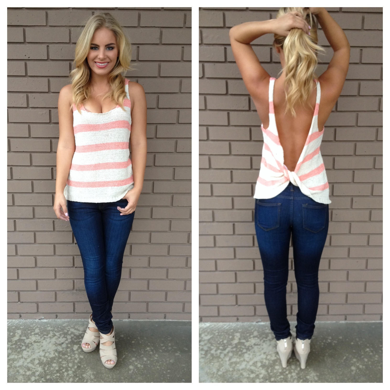Image of Coral Stripe Knot Back Knit Top