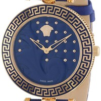 Versace Women's VK7040013 Vanitas Rose Gold Ion-Plated Stainless Steel Blue Genuine Leather Interchangeable Straps Watch Set