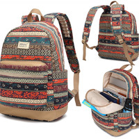 Bohemian Laptop Backpack w/ Massage Cushion Straps for 11 & 12 & 13 Inch Macbook Travel Outdoor Bag for student girl or women - Free Express Shipping