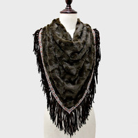 Oversized Boho Faux Fur Fringe Scarf - Brown