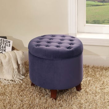 Large Round Plum Storage Ottoman