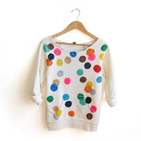Colorful Confetti Hand STENCILED Deep Scoop Neck Heather Sweatshirt in Cream Multi Rainbow - S M L XL 2XL 3XL