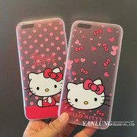 Cute Cartoon Cat Hello kitty Pink Hard Silk Back Coque for iPhone 5 5S 6 6S Plus Phone Cases Cover Full Protective Caso