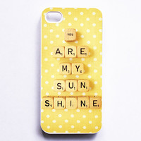 iPhone 5 Case: You Are My Sunshine. White Case. Scrabble. Yellow White. Polka Dots. READY-TO-SHIP
