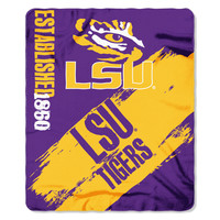 "LSU Collegiate 50""""x60"""" Fleece Throw, Painted Series"