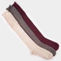 Full Tilt 3 Pack Scrunch Top Womens Knee High Socks Burgundy One Size For Women 20284532001