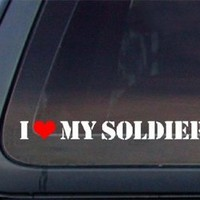 I Love My Soldier w/ Red Heart Car Decal/Sticker - White & Red