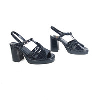 90s Platform Chunky Heels Strappy Cage Navy Blue T Strap High Heels  Snakeskin Print Club Kid Disco Ankle Strap Open Toe Shoes (8.5)