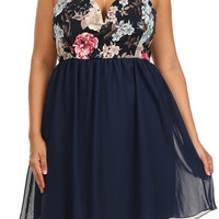 Plus Size Strapless Chiffon Floral Party Dress
