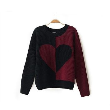 Magic Pieces Woman's Heart Pattern Round Neck Sweater 080845