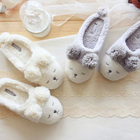 grey adorable sheep home slippers autumn and winter women warm slippers floor indoor waterproof shoes