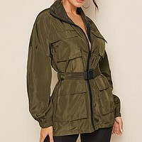 Zip Up Pocket Patched Jacket With Push Buckle Belt Women Solid Windbreaker Casual Sporting Outwear Jackets