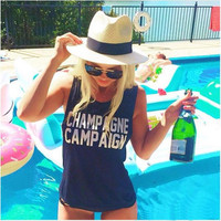 """""""Champagne Campaign"""" Letter Print Sleeveless T-Shirt"""