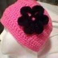 Skullcap Neon Pink with Black Flower Crocheted One Size | JustCrafty - Accessories on ArtFire