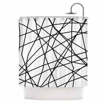 "Trebam ""Paucina v3"" Black White Shower Curtain"