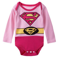 Baby Girs Superhero Super Girl Long Sleeves Onesuit