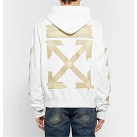 Off-White New Rubber Striped Arrow Printed Cotton Terry Hoodie