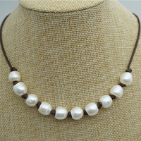 Big rice pearl necklace, 11mm freshwater pearl necklace,Leather Pearl Necklace, Pearl Leather Necklace,White Leather Pearl necklace,