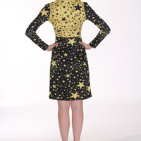 Unique, Yellow & Black Stars Fantasy Print, Cozy Modal Knit Stretch Cotton Short Dress Work wear, Cocktail dress, date, women's, girl's