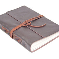 Large Dark Brown Leather Journal, Wrap Journal, Travel Journal, Lined Paper, Guestbook, Ready to Ship