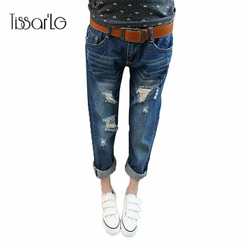 Loose Jeans for women Ripped jeans for women Feminino  Jeans Harem Pants Bleached Cotton Denim Pants 2017 Spring