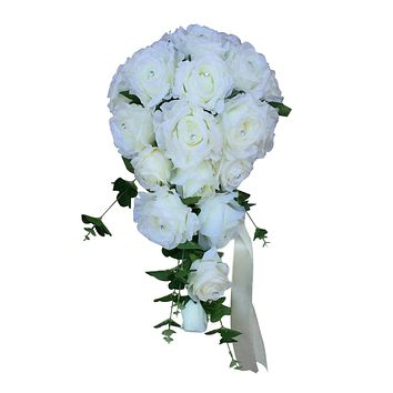 Elegant Wedding Cascade Bouquet - Ivory Roses with Greenery Artificial Flowers