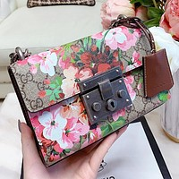 Hipgirls GUCCI New fashion more letter floral print shoulder bag crossbody bag women