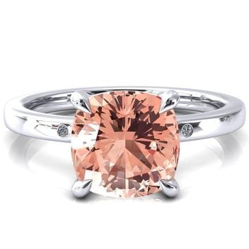 Maise Cushion Champagne Sapphire 4 Prong Diamond Accent Engagement Ring