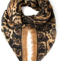 Alexander McQueen skull and leopard print scarf