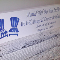 "Customized beach wedding sign, destination ""Married with our toes in the sand, we will always & forever be hand in hand"""