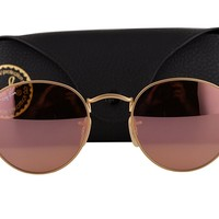 Ray Ban RB3447 Round Metal Sunglasses Matte Gold w/Brown Mirror Pink Lens 11222 RB 3447