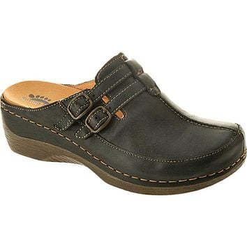 Spring Step Happy Black Leather Clogs