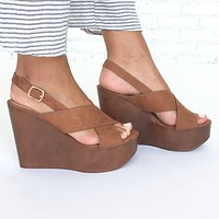Zoey Wedges in Tan