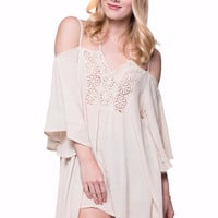 Embroidered Crochet Lace Open-Shoulder Lace Up Tunic Top
