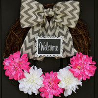 Spring Wreath Burlap Chevron - Pink and White Dahlia Flowers CHALKBOARD Frame - Personalized Decoration - Burlap Bow
