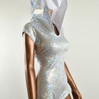Sparkling Silver Holographic Bodysuit Romper Hologram Hoodie with Boy Cut Leg Rave Clubwear -E7551